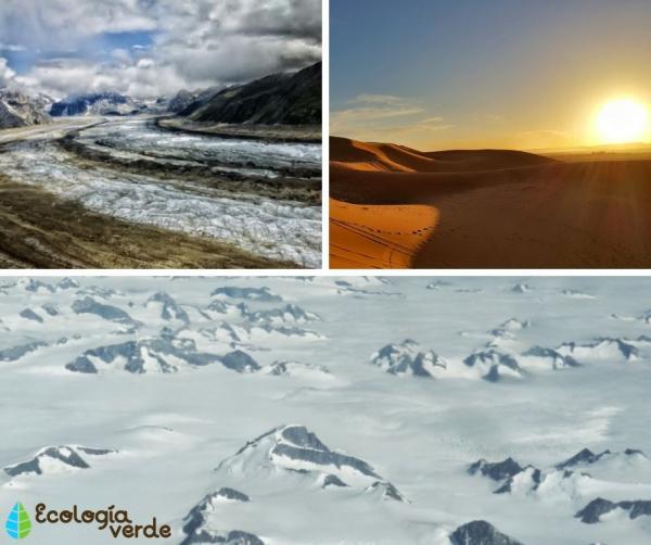 Tipos de ecosistemas terrestres y ejemplos - Ecosistemas naturales terrestres ausentes de vegetación