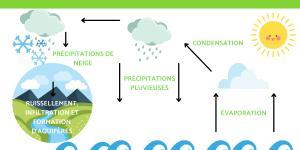 Le cycle de l'eau pour ce2 en primaire - Schéma et étapes