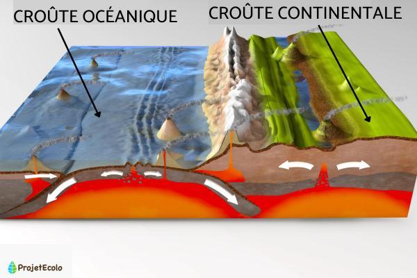Croûte océanique - Définition et caractéristiques - Différences entre croûte océanique et croûte continentale